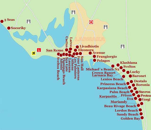Карта ларнака кипр